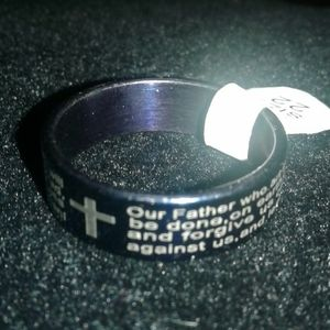 The Lord's Prayer On A Blue Stainless Steel Ring